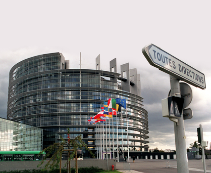 Outside view of European Parliament building in Strasbourg