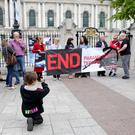 The protest rally held at Belfast City Hall against paramilitary punishment attacks