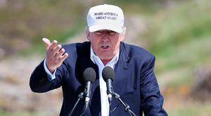 Green candidate: Donald Trump visiting the Turnberry Hotel in South Ayrshire, Scotland, yesterday