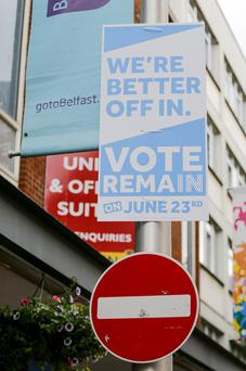 Campaign posters around Belfast in the build-up to the referendum