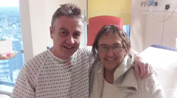 Ray Hughes with cousin Briege Dorman after the transplant operation