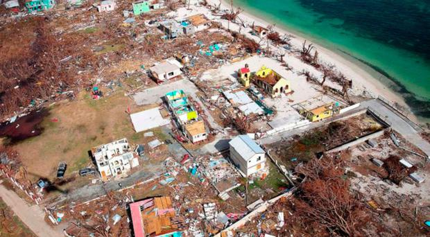 The devastation of the island of Jost Van Dyke in the British Virgin Islands following the passing of Hurricane Irma
