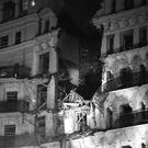 The aftermath of the bombing of The Grand Hotel, Brighton, which injured Lord Tebbit and his wife