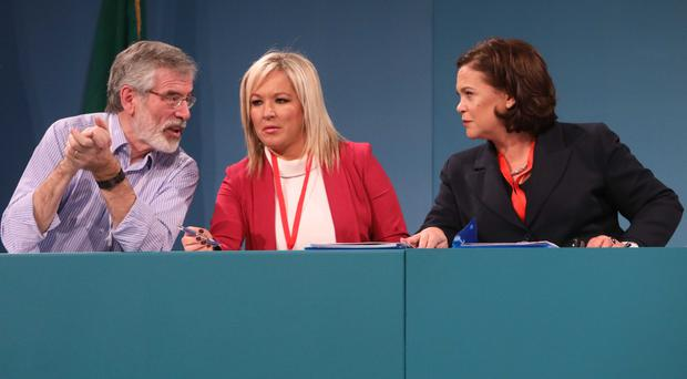 Sinn Fein's top table at the ard fheis, Gerry Adams, Michelle O'Neill and Mary Lou McDonald
