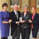 Colin Henderson after receiving his MBE with wife Joan and daughters Claire Taylor (left) and Jenny Dalzell