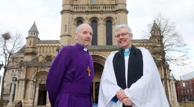 Archdeacon Stephen Forde (right), the new Dean of Belfast at St Anne's Cathedral, with the Bishop of Connor, the Rt Rev Alan Abernethy