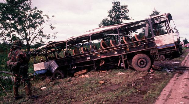 The bus blown up by the IRA at Ballygawley in August 1988 in an attack that killed eight British soldiers