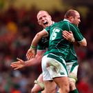 Ireland's Paul O'Connell and Rory Best celebrate after winning the Grand Slam in 2009