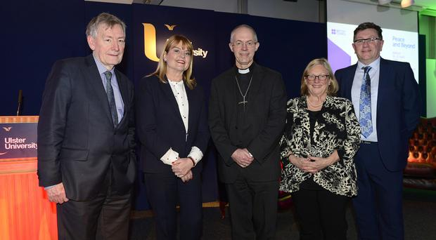 Denis Bradley, Maxine Mawhinney, the Archbishop of Canterbury Justin Welby, British Council education and society director Jo Beall and Jonathan Stewart, director of British Council Northern Ireland at Ulster University yesterday