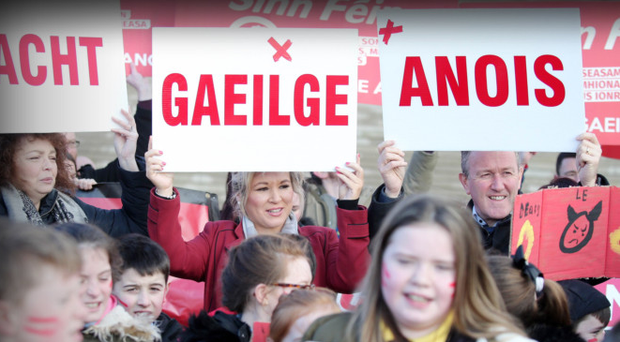 Irish Language Act campaigners at Stormont in February