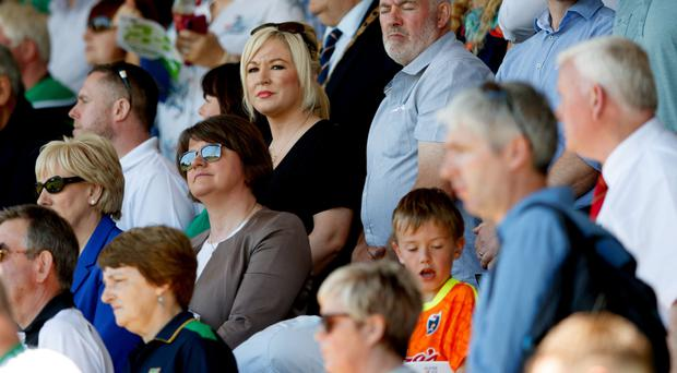 DUP leader Arlene Foster at the Fermanagh vs Donegal GAA match on Sunday