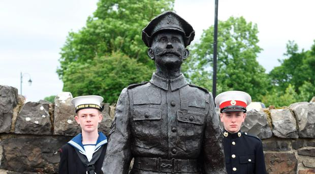 Men of honour: the statue of Robert Quigg, in Bushmills