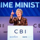 Prime Minister Theresa May speaking at the CBI annual conference at the InterContinental Hotel in London yesterday