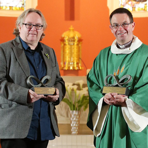 Rev Steve Stockman of Fitzroy Presbyterian Church and Fr Martin Magill of St John's Parish