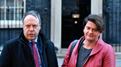 The DUP's Nigel Dodds and Arlene Foster outside No 10 Downing Street last week