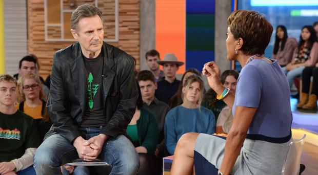 Ballymena actor Liam Neeson talks to Robin Roberts on Good Morning America about his remarks on his wish for revenge after a friend was raped