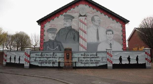 A UVF mural at the bottom of the Newtownards Road in Belfast