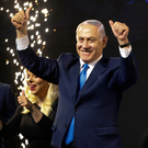 Benjamin Netanyahu celebrates his victory in the elections