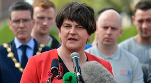 Arlene Foster addressing the rally in Creggan after the death of Lyra McKee