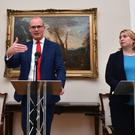 Simon Coveney and Karen Bradley at Stormont on Friday
