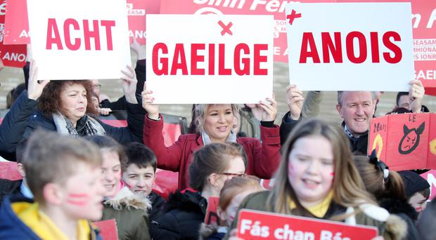A protest at Stormont in February last year in favour of an Irish Language Act