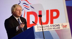 Guest speaker Boris Johnson at the 2018 DUP annual conference in Belfast's Crowne Plaza hotel