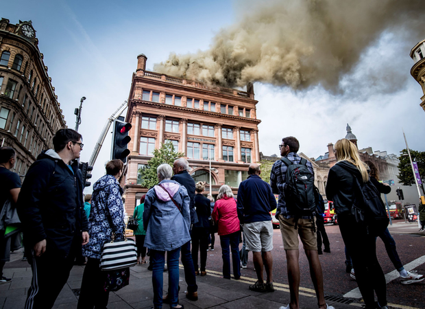 The fire at Bank Buildings in Belfast