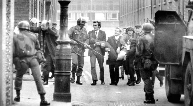 Scenes on Bloody Sunday in Londonderry in 1972