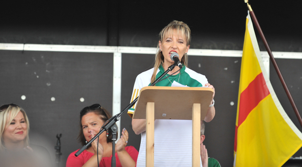 Martina Anderson speaking at the republican rally at the weekend, with Michelle O'Neill and Mary Lou McDonald watching on