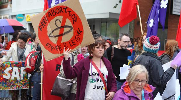 A march in support of abortion access in the city centre