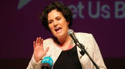 Claire Hanna speaking at the People's Rally in the Ulster Hall at the weekend