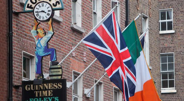 The Union flag and Irish Tricolour flying side by side