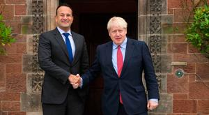 Leo Varadkar and Boris Johnson shaking hands after their Liverpool summit