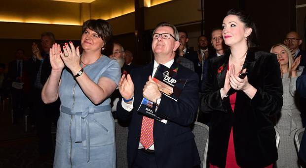 DUP leader Arlene Foster with Jeffrey Donaldson and Emma Little Pengelly at the party conference last weekend in Belfast
