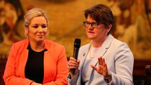 Michelle O'Neill and Arlene Foster at the Ulster fry breakfast in Manchester