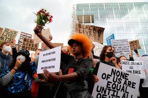 Protesters in London in support of the Black Lives Matter movement
