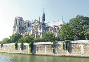 Venerated site: the majestic Notre Dame Cathedral on the banks of the River Seine in Paris