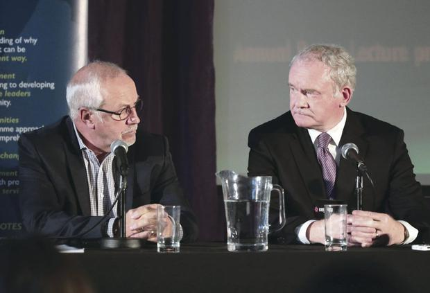 War and peace: Martin McGuinness (right) and Colin Parry at a conference in Warrington in 2013