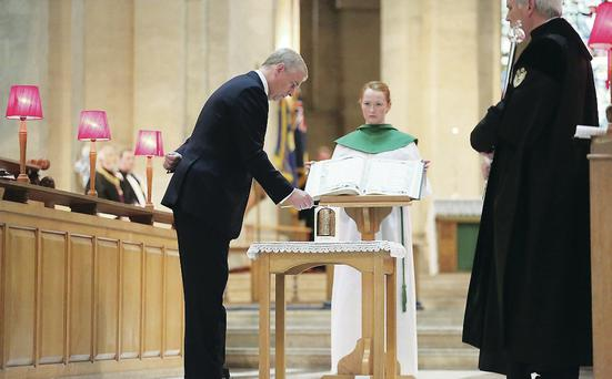 Paying homage: the Duke of York attends a service of remembrance at St Anne's Cathedral Belfast