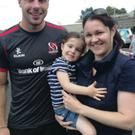 Bowe belles: Ulster rugby hero Tommy meets his biggest little fan Katie and her mum Claire