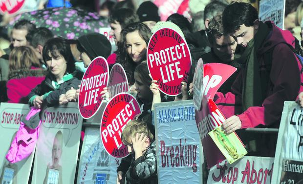 Changing ground: anti-abortion protesters outside the Marie Stopes clinic in Belfast