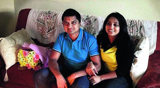 Praveen Halappanavar pictured with his wife Savita at their home in Galway