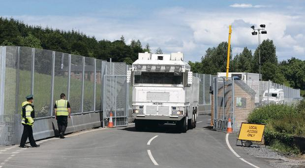 Security measures: Unused water cannon at the G8