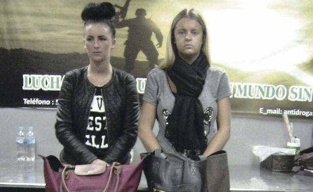 Charge: Michaella McCollum Connolly (left) and co-accused Melissa Reid after their arrest in Peru