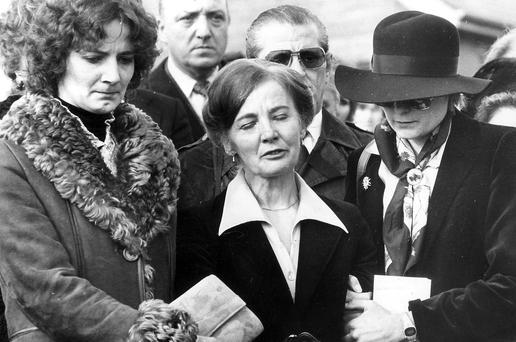 Thomas Niedermayer's widow Ingeborg and daughters Renate and Gabrielle at his funeral