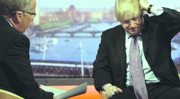 Aggressive: the BBC's Eddie Mair interviews Boris Johnson