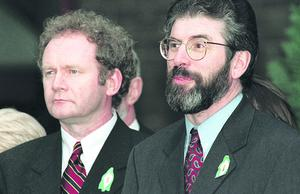 PACEMAKER BELFAST   10/4/1998  The Good Friday Agreement signing.  Sinn Fein leaders Gerry Adams and Martin McGuinness emerge from talks to talk to the media on the signing of the Good Friday Agreement.