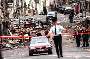 The aftermath of the Omagh bomb in 1998