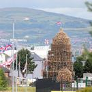 The bonfire at the Comber Greenway at Ravenscroft Avenue in east Belfast