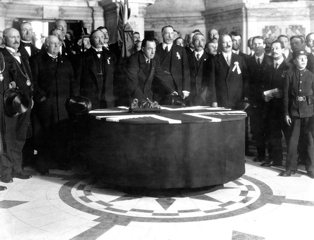 Edward Carson at the signing of the Ulster Covenant at Belfast City Hall in 1912